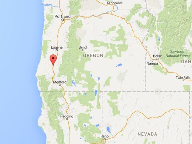 Location ... the shooter opened fire at Umpqua Community College in Oregon, a community college in Roseberg, 300 kilometres south of Portland. Picture: Google Maps