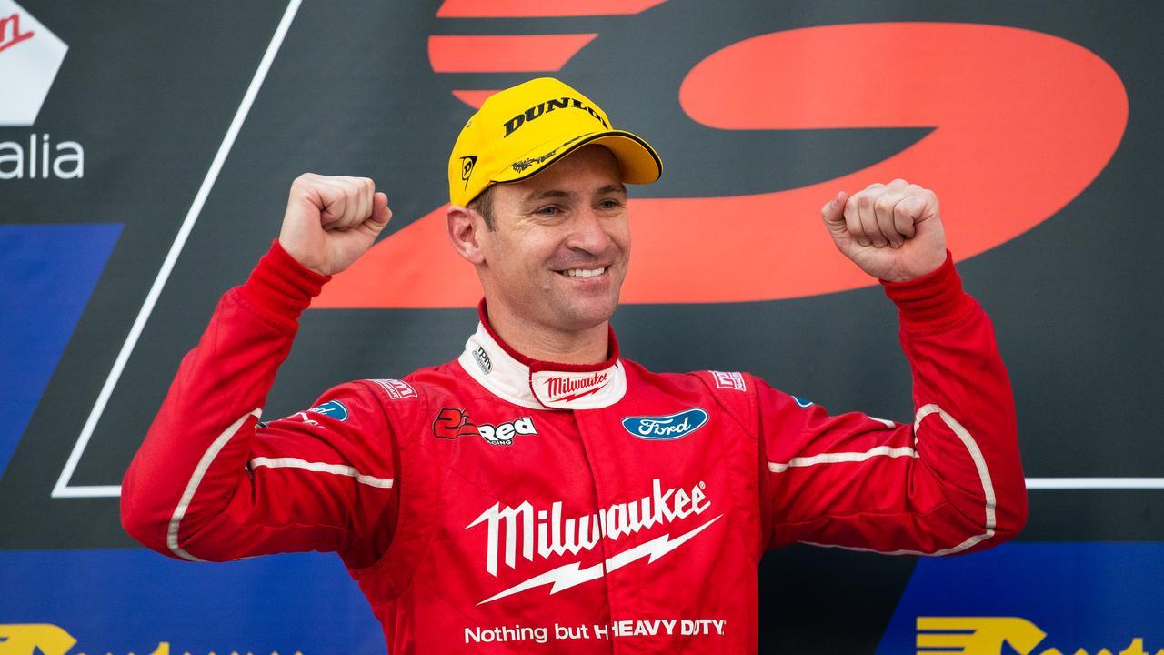 Will Davison celebrates on the podium after Race 19.