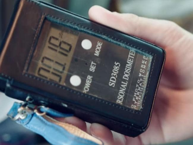In the episode, Farrier and the other tourists are concerned about the readings on their Geiger counters. Picture: Netflix