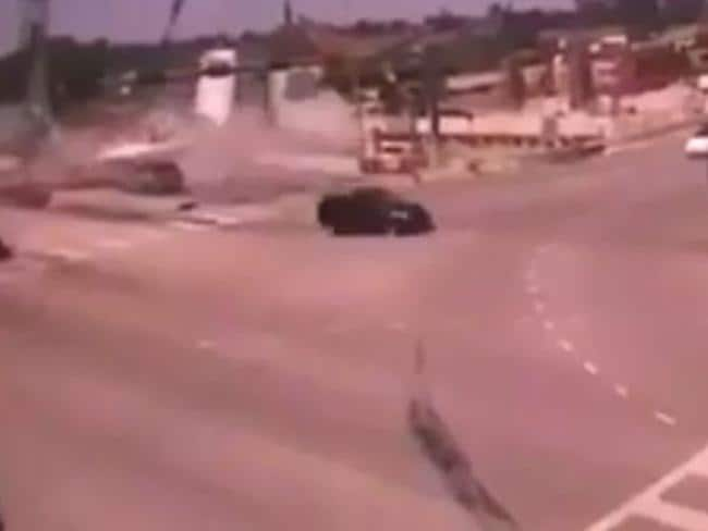 CCTV captured the appalling moment the Florida bridge collapsed on to traffic.