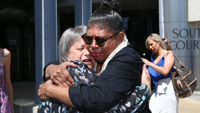 Donna Baluskas breaks down after meeting Kathleen Toplis. Kathleen told Donna her son took his own life after attending Tamborine Mountain State High School. Picture: Adam Head