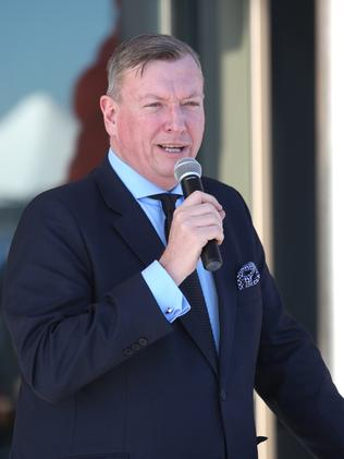 John Brogden, from Landcom, speaks at the opening at Oran Park, Saturday, 30th June 2018. Official opening of the new iconic Oran Park Library. (AAP Image / Robert Pozo).