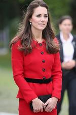 <p>In a red a suit by Italian designer Luisa Spagnoli Catherine, Duchess of Cambridge looked regal as she visits the Botanical Gardens on April 14, 2014 in Christchurch, New Zealand. Picture: Getty</p>