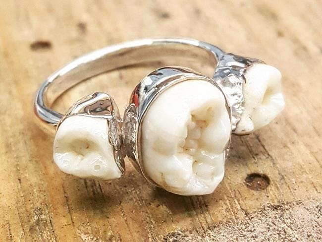 Jacqui makes jewellery out of material such as bones and teeth.