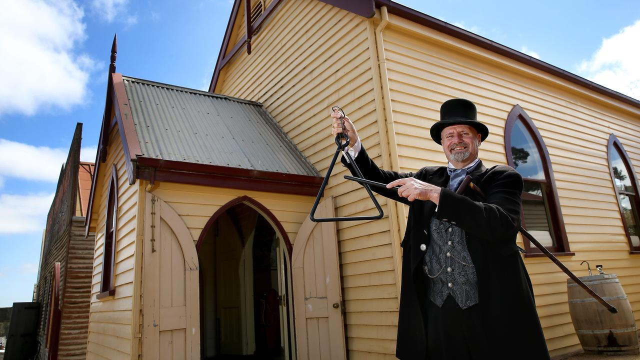 Schools like this one at Sovereign Hill, Ballarat, were only built later in the Gold Rush at permanent towns. Peter Beckwith is a teacher at Sovereign Hill. Picture: Andy Rogers