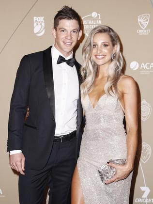 Tim Paine and Bonnie Paine on the Australian Cricket Awards black carpet.