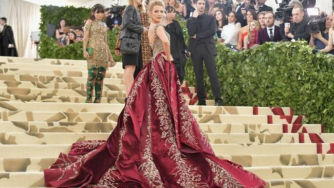 Blake Lively at the Heavenly Bodies: Fashion & The Catholic Imagination Costume Institute Gala at The Metropolitan Museum of Art in 2018.