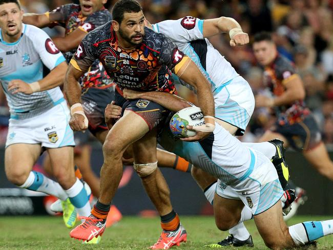 Greg Inglis in action during the Indigenous All Stars v World All Stars game.