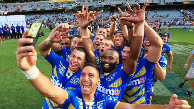 The Eels celebrate Auckland Nines victory with a selfie. Picture: Mark Evans
