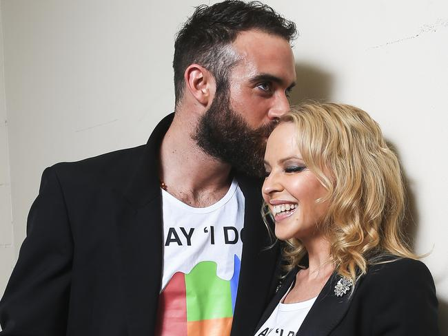 Kylie Minogue and fiance Joshua Sasse have declared they won't get married until same-sex marriage is legalised in Australia. Picture: Dylan Robinson