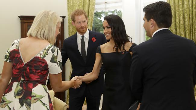 The Duke and Duchess of Sussex met with the Leader of the Opposition and his wife at Government House. Credit: AP Photo/Kirsty Wigglesworth, Pool
