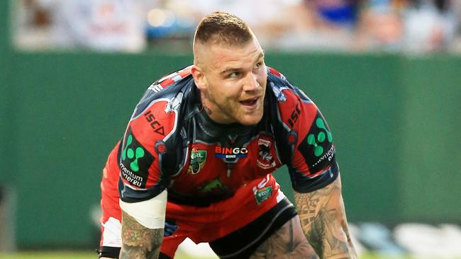 Josh Dugan of the Dragons scores a try. Picture: Mark Evans
