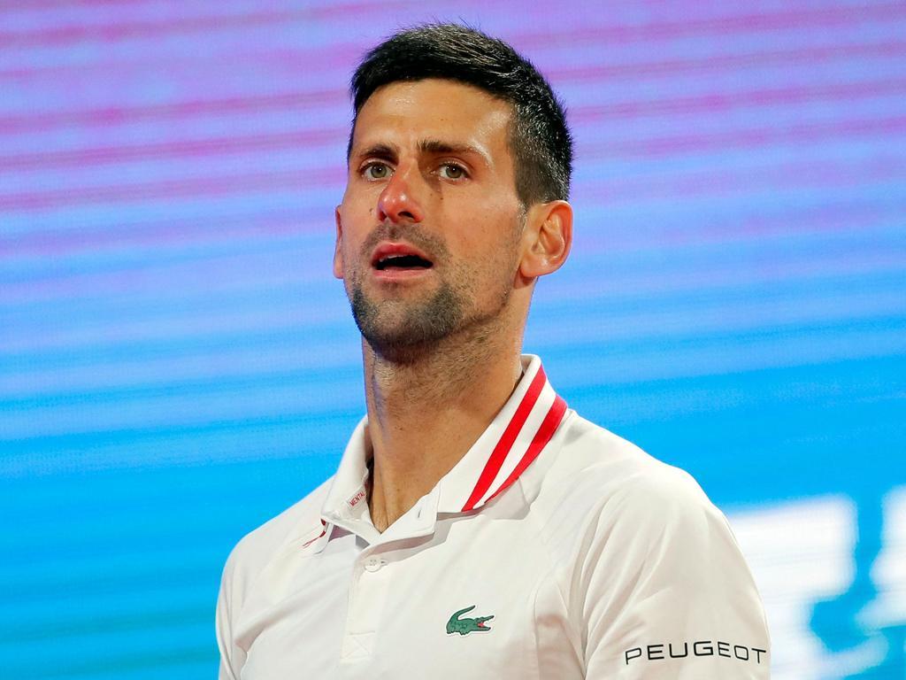 Serbia's Novak Djokovic reacts during his ATP 250 Serbia Open semi-final singles tennis match against Russia's Aslan Karatsev at The Novak Tennis Centre in Belgrade on April 24, 2021. (Photo by PEDJA MILOSAVLJEVIC / AFP)