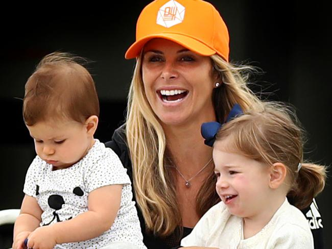 Sports lover Candice Warner and daughters Ivy Mae and Indi Rae watch David Warner train.