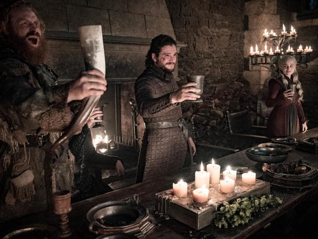 THappy days are gone for Daenerys, with Tormund and Jon Snow. Picture: HBO via AP