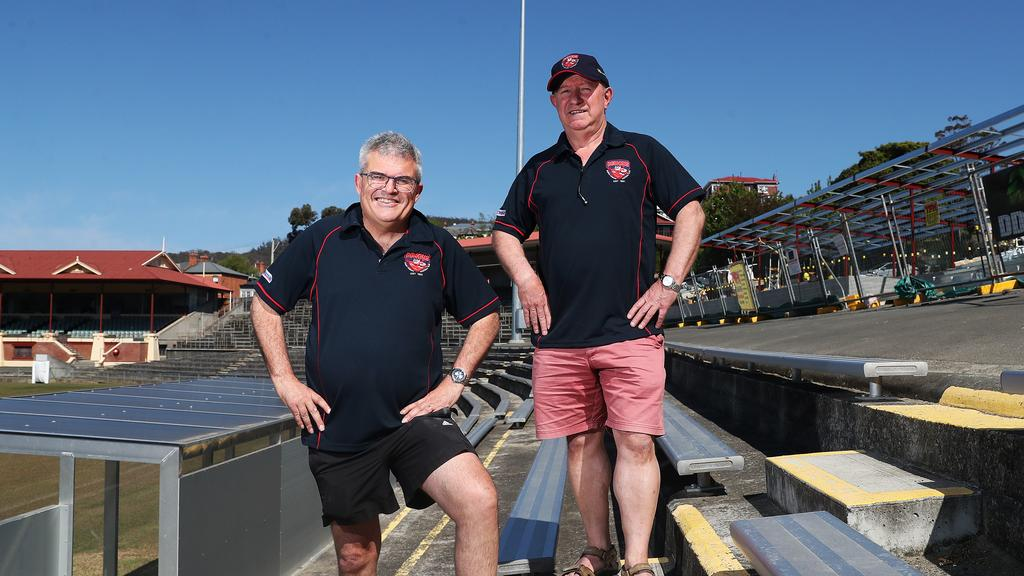 North Hobart Football Club president Craig Martin and club general manager Paul Curtain at North Hobart Oval, which is part-way through a $1.2 million redevelopment. Picture: NIKKI DAVIS-JONES