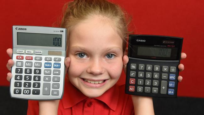A student with calculators. Picture: Jason Sammon