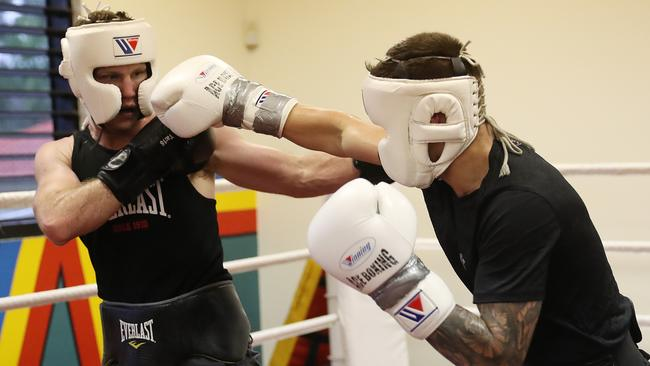 Jeff Horn (left) sparring with hot prospect Liam Paro ahead of the Manny Pacquiao fight.