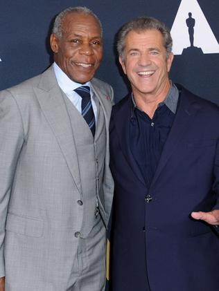 Gibson and Glover reunited on June 7 to pay tribute to Lethal Weapon director Richard Donner. Picture: Joshua Blanchard