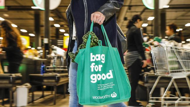 One of the reusable bags offered at Woolworths. Picture: AAP/Woolworths Group, PPR, Dallas Kilponen
