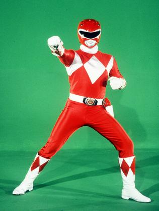 "TV super heroes ""Mighty Morphin Power Rangers"", Jason (Austin St John) identified by his red armour."