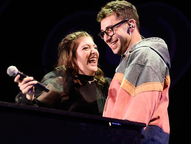 Lorde (L) and Jack Antonoff perform onstage during the 2017 iHeartRadio Music Festival in Las Vegas, Nevada. Picture: Getty