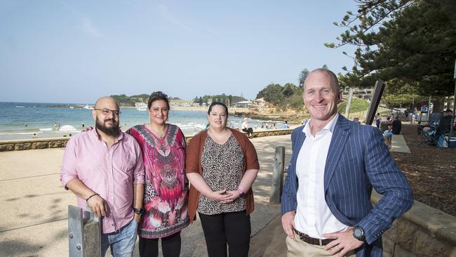 Brett Hunter from Raine and Horne with business owners (L-R) Md Zahid Hossain & Liana Kheireddine (Michael's Family Restaurant), & Amanda Kumar (The Kings of Punjab) at Terrigal. Picture: Troy Snook.