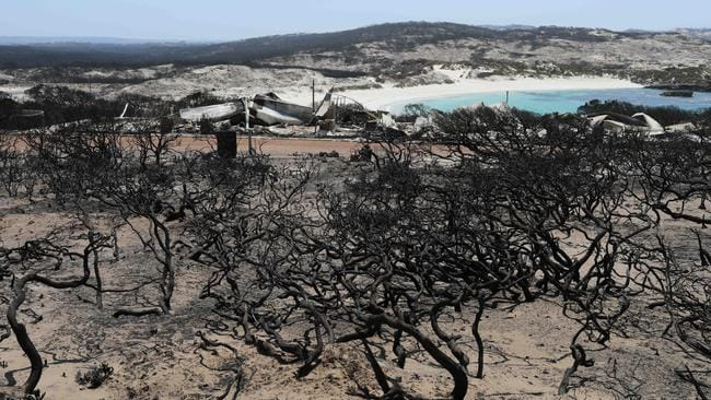 The remains of beach shacks at Hanson Bay after fire ripped through the Flinders Chase National Park. Picture: Emma Brasier