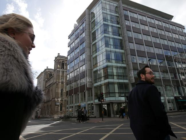 There's been a huge outcry worldwide after the world was tipped off to the work of Cambrdige Analytica — who used your data to influence an election. Pictured is the Cambridge Analytica's office in London. Picture: Daniel Leal-Olivas / AFP