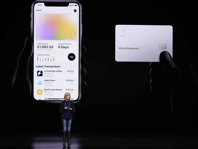 Jennifer Bailey, vice president of Apple Pay, speaks about the Apple Card at the Steve Jobs Theatre during an event to announce new products in Cupertino, Calif. Apple is hoping a credit card will entice more iPhone owners to use Apple Pay. Picture: Tony Avelar