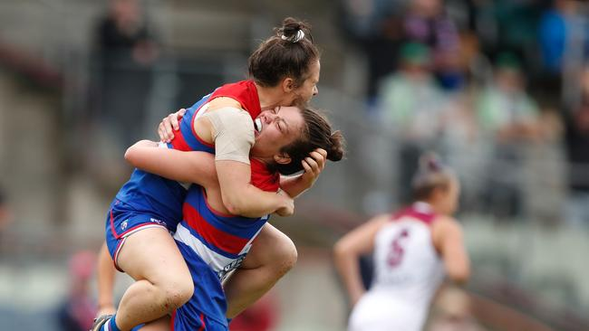 Emma Kearney celebrates a goal in the grand final.