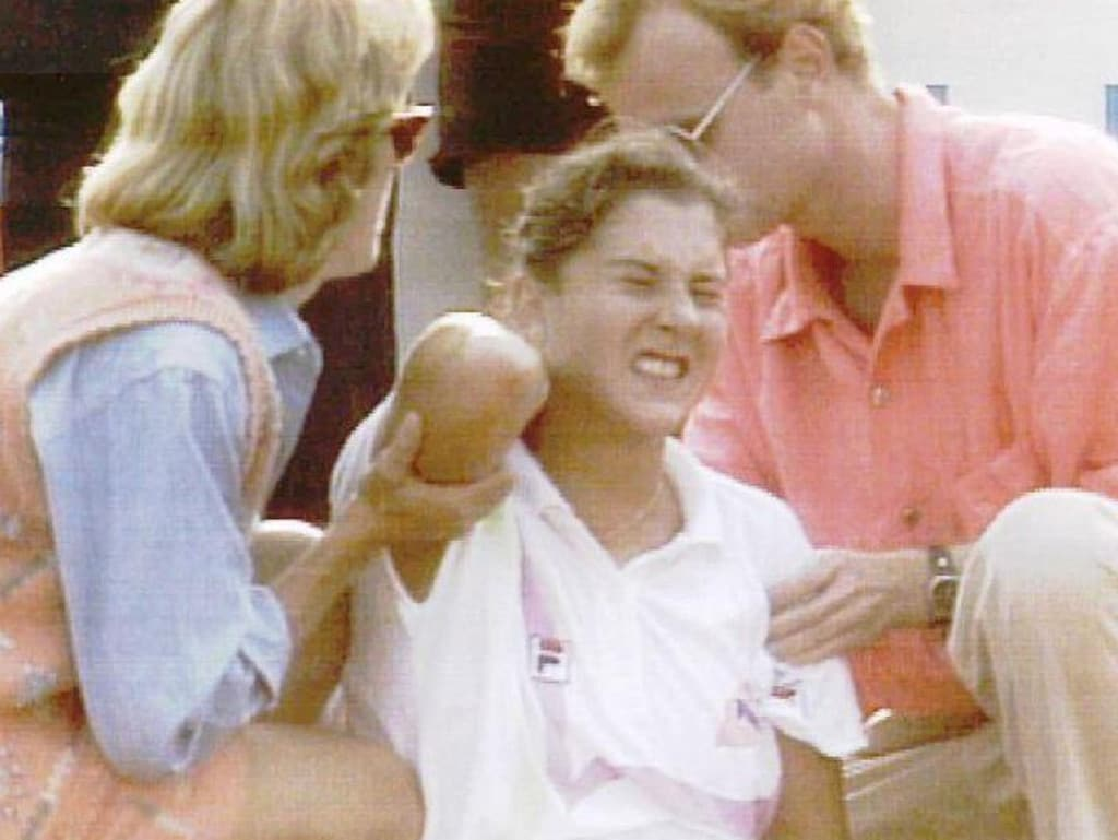 Monica Seles after the shocking incident in 1993.