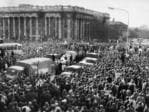 A massive crowd of protesters swarm North Tce in 1970, in a rally for the end of the Vietnam War.