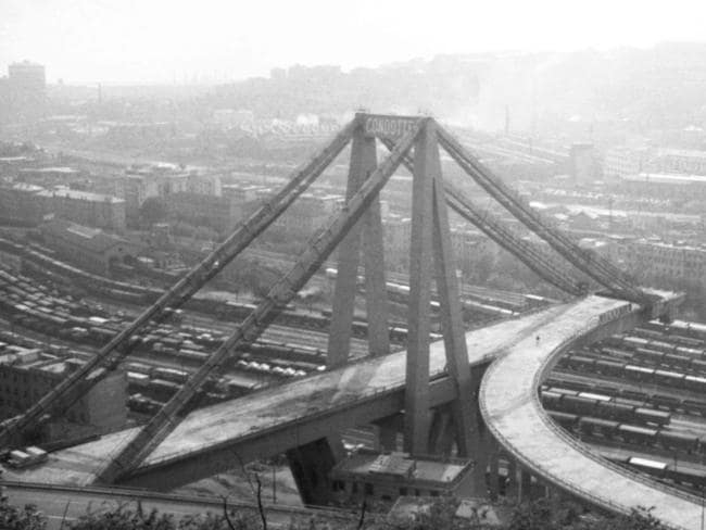 This handout file picture taken in 1965 shows the construction of Morandi motorway bridge in Genoa. Picture: AFP