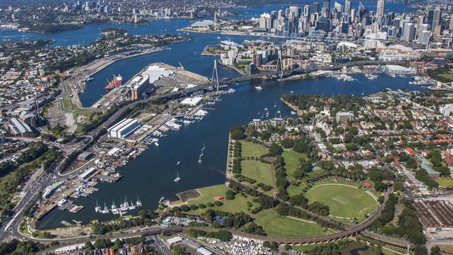 Aerial view of the Bays Precinct which the NSW Government wants to become a tech hub.