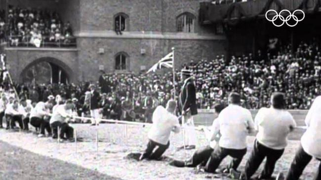 Tug of war at the 1912 Olympics in Stockholm.