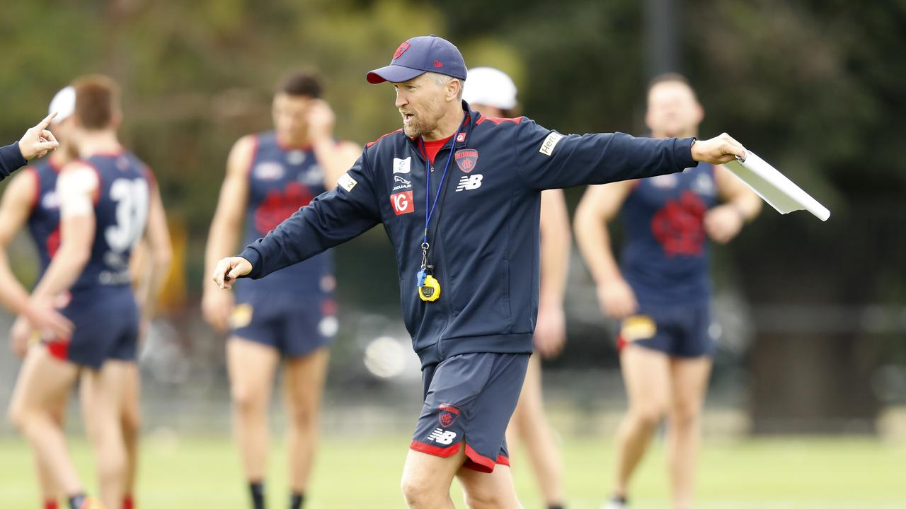 Darren Burgess and the Demons have postponed their AFL training session due to poor air quality. Picture: Darrian Traynor