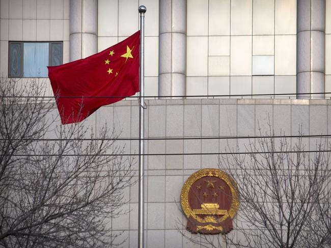 A Chinese flag flies outside of the Secondary Intermediate People's Court of Tianjin northeastern China's Tianjin municipality, Wednesday, Dec. 26, 2018. Picture: AP