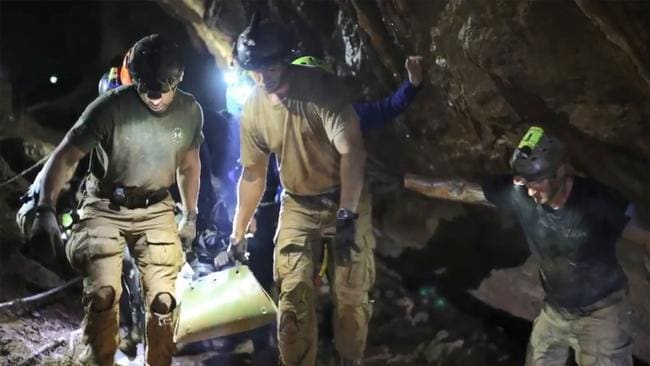 The 12 boys were rescued from the cave on July 11, 2018. Picture: AFP/ROYAL THAI NAVY
