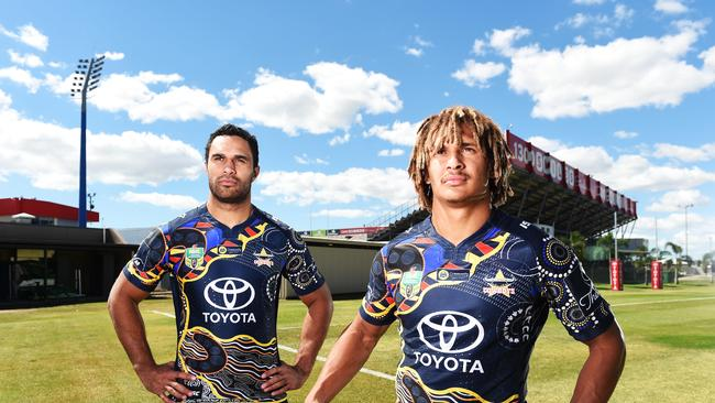 Cowboys players Justin O'Neill and Ray Thompson show off the Cowboys Indigenous jerseys. Picture: Zak Simmonds
