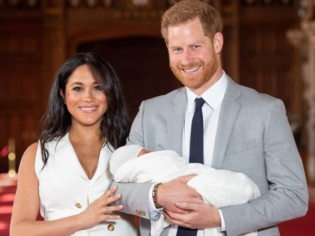 Prince Harry and Meghan pose with their then- newborn son Archie Harrison Mountbatten-Windsor. Picture: Getty Images