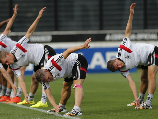 German players prepare for Monday morning's World Cup 2014 final.