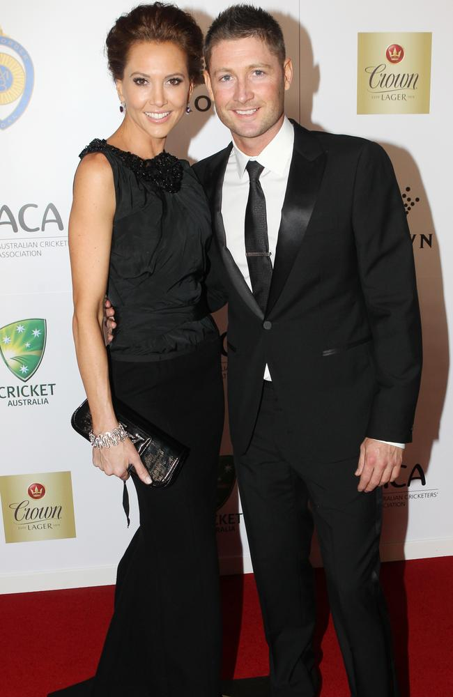 Michael Clarke and his partner Kyly Boldy on the red carpet arrivals at the Allan Border Medal night. Picture: AAP Image/David Crosling.