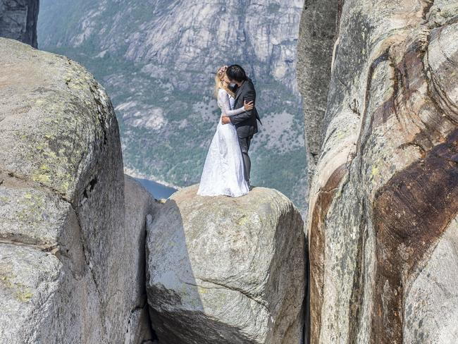 The idea for the unique journey came to Mr Keow, who is a photographer, while he was shooting a Taiwanese couple earlier this year. Picture: Keow Wee Loong/Caters News Agency