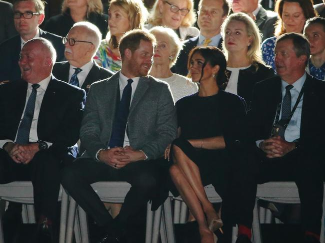 Prince Harry couldn't take his eyes off his wife Meghan as the opening ceremony of the Invictus Games got under way. Picture: Toby Zerna