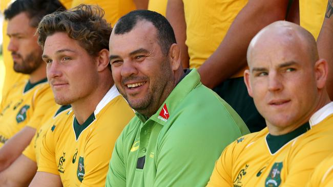 Michael Cheika says Stephen Moore (R) will captain the Wallabies in June.