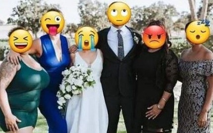 Another wedding guest (left) was shamed by the bride for turning up in a skin-tight green bodycon. Picture: Facebook