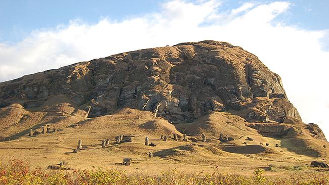 Quarry: Rano Raraku, where 95 percent of the stone statues were carved, is a massive mound of consolidated volcanic ash surrounding a reed-filled lake. Picture: Easter Island Statue Project.