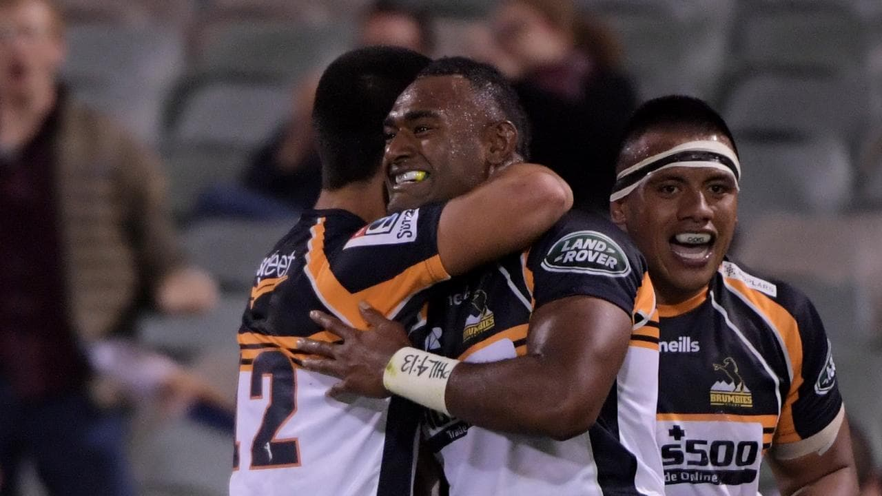 Tevita Kuridrani celebrates after scoring against the Lions.