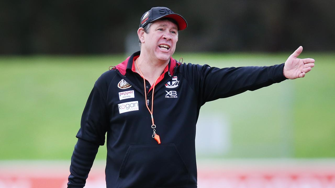 Brett Ratten speaks to players during a training session this week.